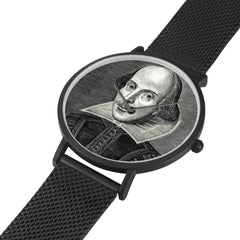 Shakespeare digital printed 8mm thick stainless steel watch, water resistant in black