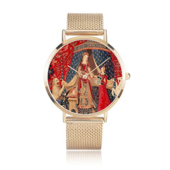 front view of the gold the Lady and the Unicorn tapestry artwork now on a quality citizen movement watch