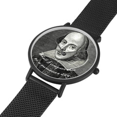shakespeare printed digital watch high quality comes in 3 sizes and 3 colours, showing black with band laid out