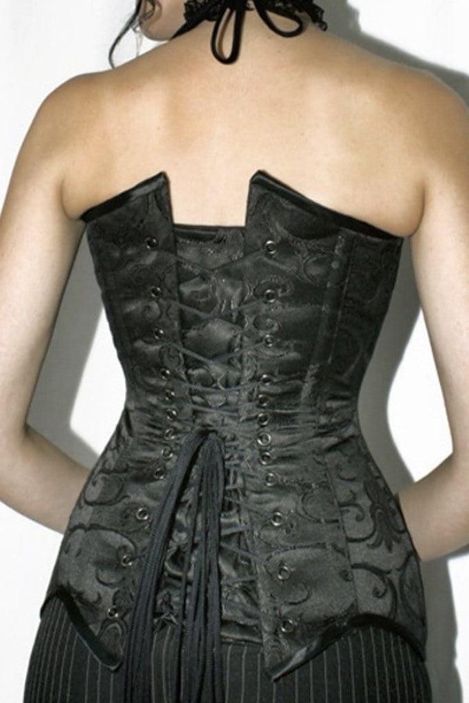 f950754a059 back view of the Over bust steel boned La Viola corset made in Australia  from baroque