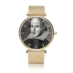 front on view of the gold coloured Shakespeare image watch with 5 minute indicators