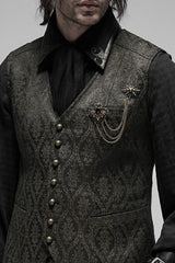 Baroque bronzed brooch in 2 pieces shown on a victorian steampunk vest in a grey black green pattern