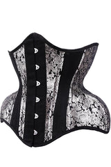 Baroque Silver Curves Corset steel boned, european designed, very good quality materials posts from Sydney side front view