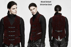 male model wearing the embossed deep red velvet elegant gothic victorian mens vest