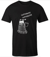 black t-shirt for men with funny Dalek needs coffee meme in white print sizes S to 5XL