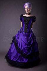 Amethyst Turn of the Century Corset steel boned, purple and black baroque patterned jacquard, made in Australia by Gallery Serpentine, gothic bridal model