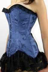 The Blue Delphine is a long line over the bust steel boned corset we make in Australia.