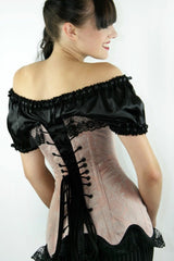 English Rose Longline Victorian steel boned over the bust corset made in Australia by Gallery Serpentine back view on model