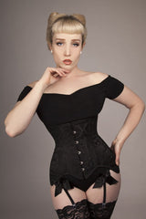 the best black stretchy comfy top to wear under a corset for casual sleek look