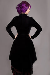 3/4 length high low black stretch velvet womens jacket made to measure in Australia