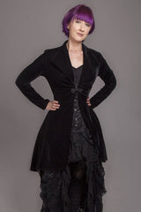 gothic velvet high low jacket with frog clasp made to measure in Australia