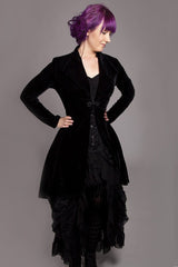 3/4 length black stretch velvet womens jacket made to measure by Gallery Serpentine in Australia