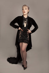 gothic black velvet jacket with high low, long sleeves made in Australia to your measurements