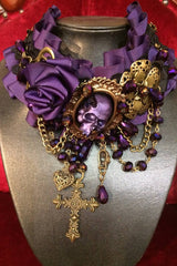 gothic purple and gold high end artisan one off choker made in Australia by MisSMasH showing the skull up close