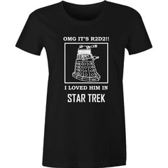 Black women's meme tee featuring 3 popular scifi movies Star Trek, Dr Who, Starwars in white print