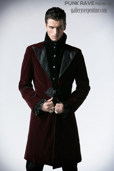Punk Rave Mens Dark Velvet Lord Tuxedo Jacket at Gallery Serpentine gothic coat