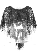 shorter at the front high low style in this gothic black eyelash lace cape top from Punk Rave at Gallery Serpentine