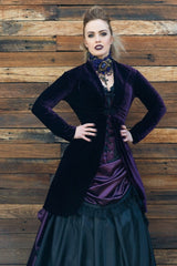gothic fashion length dark purple stretch velvet womens bolero jacket made in Australia