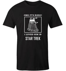 black men's AS tshirt printed with a funny sci-fi meme featuring a Dalek Star Trek and R2D2