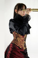 Ruby Tech Waspie Corset steel boned hand screen printed made in Australia side view
