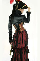 back view in victorian gown wearing the Ruby Tech Waspie Corset steel boned hand screen printed made in Australia