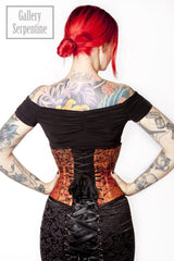 back view of tiny waist in the Steam Gears Waspie under bust steel boned, hand screen printed, hand made Corset from Australian corset makers Gallery Serpentine - 1