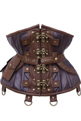 front view showing the strong silhouette waist shape of the Steampunk Adventure Under bust corset with brass clasps pockets, belt & d-rings on straps in stock at Gallery Serpentine