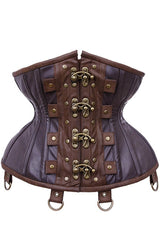 straps with brass d-rings detail on the Steampunk Adventure Under bust corset with brass clasps pockets, belt & d-rings on straps in stock at Gallery Serpentine