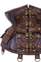 up close detail of the blackened bronze clasps on the Steampunk Adventure Under bust corset with brass clasps pockets, belt & d-rings on straps in stock at Gallery Serpentine
