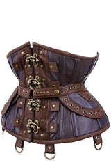 Steampunk Adventure Under bust corset with brass clasps pockets, belt & d-rings on straps in stock at Gallery Serpentine