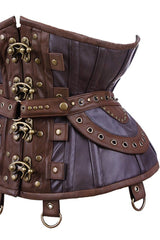 close up view of side of the steel boned Steampunk Adventure Under bust corset with brass clasps pockets, belt & d-rings on straps in stock at Gallery Serpentine
