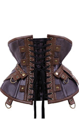 back view with belt attached to the Steampunk Adventure Under bust corset with brass clasps pockets, belt & d-rings on straps in stock at Gallery Serpentine