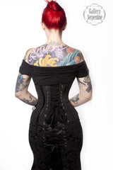 back view of the The Pinstripe Avenger Under bust corporate goth or fetish fashion steel boned Corset from Gallery Serpentine, made in Australia