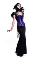 gothic model full length skirt in the Amethyst Turn of the Century Corset steel boned, purple and black baroque patterned jacquard, made in Australia by Gallery Serpentine