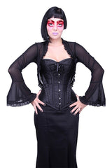 over bust black brocade 1880's style corset with modern bust shaping to support larger busts
