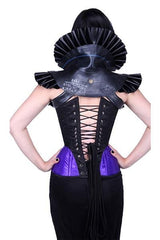 back view of the Amethyst Turn of the Century Corset steel boned, purple and black baroque patterned jacquard, made in Australia by Gallery Serpentine