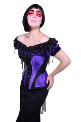 Amethyst Turn of the Century Corset steel boned, purple and black baroque patterned jacquard, made in Australia by Gallery Serpentine 1