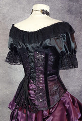 flattering under corset top 'Chemise' made from black satin for a romantic victorian look for corset wearers