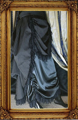 Victorian Bustle Skirt-Black Double Stripe