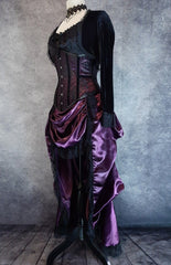 side front view of the Amethyst Beauty Victorian Bustle Skirt and matching steel boned under bust corset set made from amethyst satin, shown on a dressmaker's form