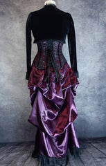 back view of the Amethyst Beauty Victorian Bustle Skirt and matching steel boned under bust corset set made from amethyst satin, shown on a dressmaker's form