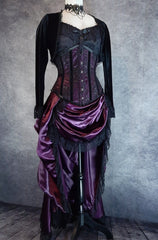 Amethyst Beauty Victorian Bustle Skirt and matching steel boned under bust corset set made from amethyst satin, shown on a dressmaker's form