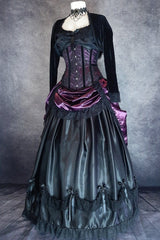 full view showing the black Seraphina petticoat in satin overlaying a fully boned hoop skirt with the Amethyst Beauty bustle skirt on top