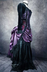 side front view of the flattering and slimming amethyst pandora over bust corset shown worn with a cage bustle