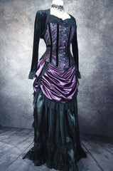 full length view of the new Pandora Amethyst over bust corset with a matching victorian bustle skirt