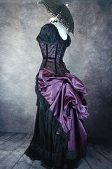 full view showing the shape of the back of the corset as it sits over the Deluxe Victorian Bustle skirt in a matching amethyst satin