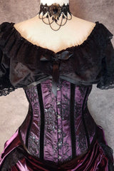 front on close up on the Amethyst Beauty under bust corset in amethyst satin overlaid with delicate french gothic black lace worn with a classic chemise top and victorian choker