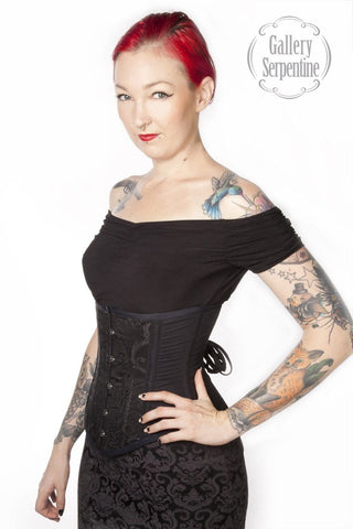 Black Brocade Arabesque Movement Corset