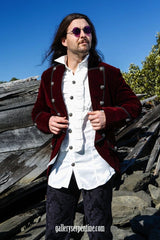 without a vest and just a pirate jacket this is the model wearing white aristocrat gothic steampunk formal mens shirt