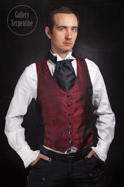 Red Silk Brocade Victorian Vest - Gallery Serpentine  - 1